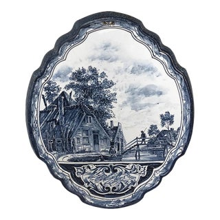 19th Century Hand-Painted Delft Platter For Sale