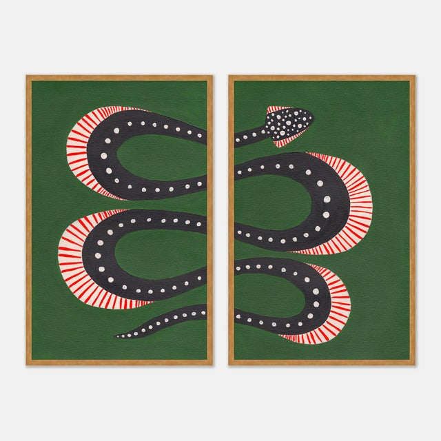 Not Yet Made - Made To Order Zucchini the Snake by Willa Heart in Gold Framed Paper, Medium Art Print For Sale - Image 5 of 5