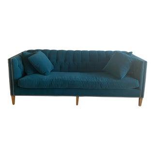 Custom Teal Crypton Sofa and Pillows For Sale