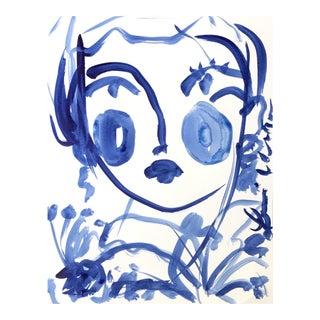 "Leslie Weaver ""Flowers in Indigo"" Acrylic Painting"