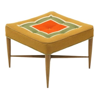 Foot Stool or Ottoman by Edward Wormley for Dunbar, Original Patterned Fabric For Sale