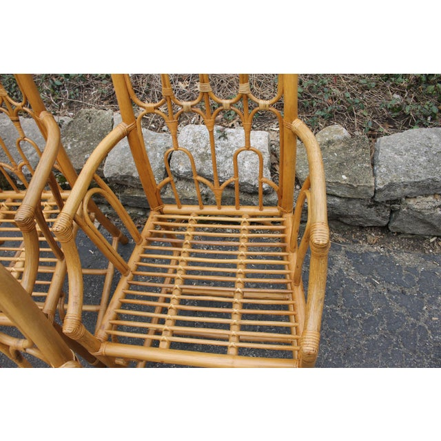Wood 1970s McGuire Style Rattan Bamboo Gothic Cathedral Chairs All Arm Chairs - Set of 2 For Sale - Image 7 of 12