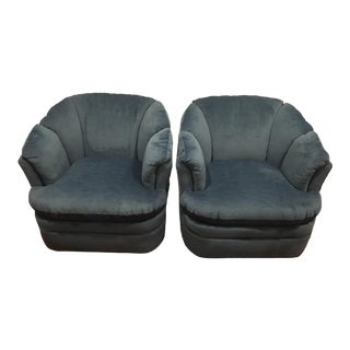Jewel Toned Blue Velvet Swivel Lounge Chairs- a Pair For Sale