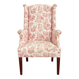 Johnston Benchworks Toile Wing Chair For Sale