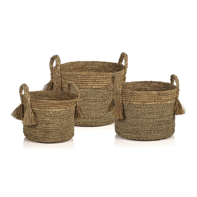 Contemporary Barletta Seagrass Baskets from Kenneth Ludwig Chicago - Set of 3 For Sale - Image 3 of 3