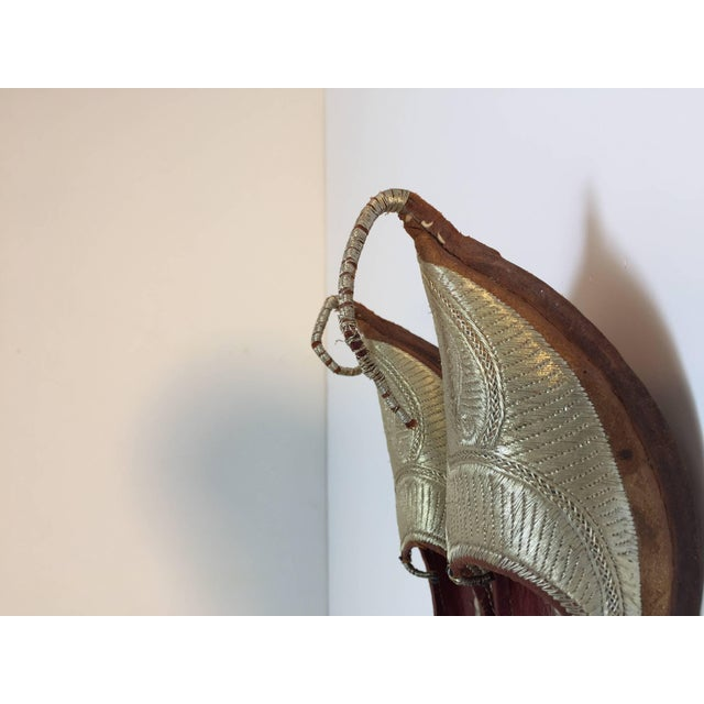 Middle Eastern Arabian Turkish Leather Shoes With Gold Embroidered Curled Toe For Sale - Image 9 of 10