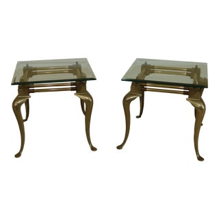Vintage Solid Brass Queen Anne End Tables W. Beveled Glass Tops - a Pair For Sale