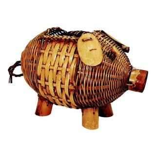 1960s Boho Chic Wicker Pig-Shaped Basket