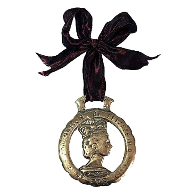 1953 Queen Elizabeth II Coronation Brass Ornament - Image 1 of 3