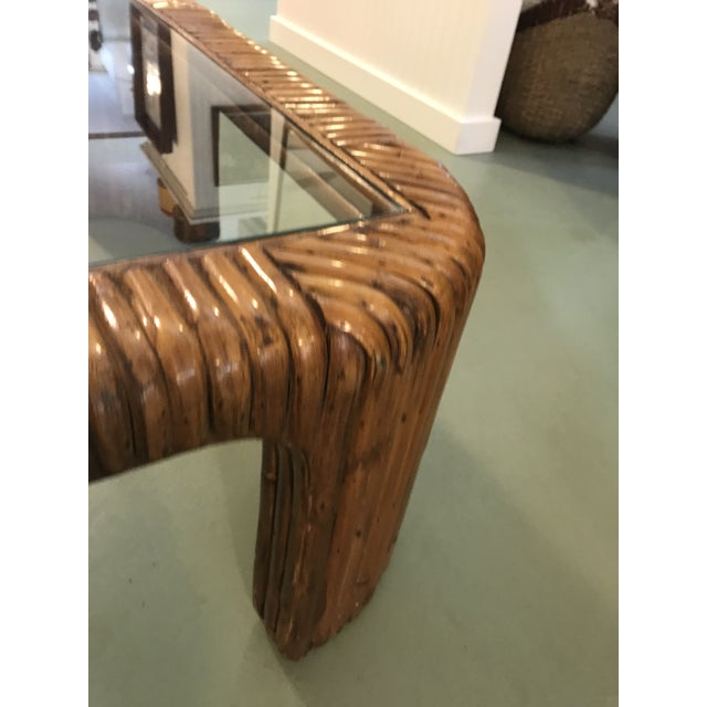 Split Reed Rattan Waterfall Coffee Table For Sale In New York - Image 6 of 8