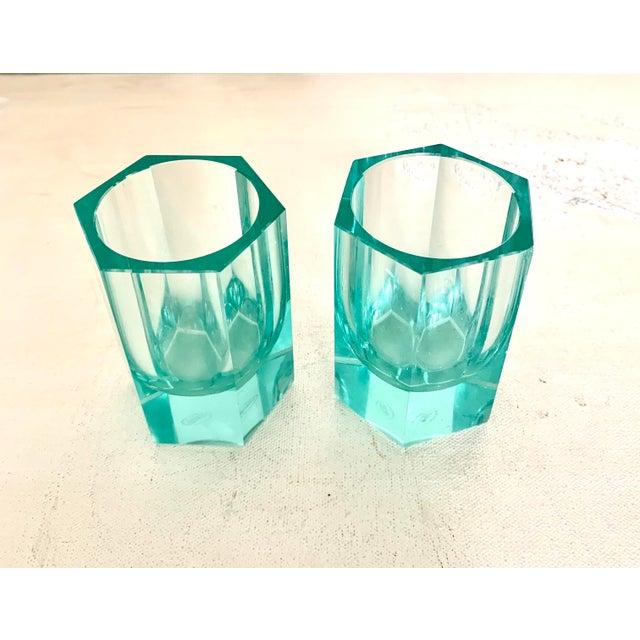 Glass Moser Modern Turquoise Crystal Votives - Set of 2 For Sale - Image 7 of 7