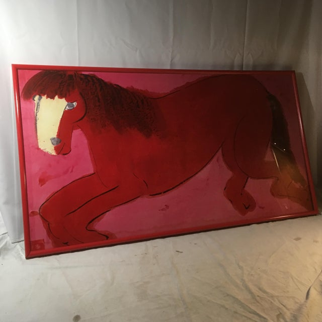 """Late 20th Century Late 20th Century """"Red and Pink Horse"""" Signed Lithograph by Walasse Ting, Framed For Sale - Image 5 of 10"""
