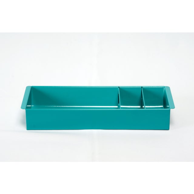 Cole Steel Steel Tanker Drawer Insert Repurposed as Desktop Organizer, Refinished in Turquoise For Sale - Image 4 of 7