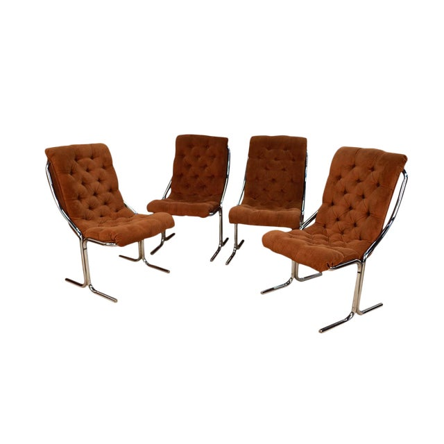 Daystrom Mid Century Chrome High Back Dining Velour Chairs For Sale