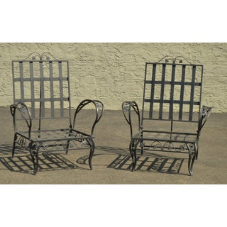 Quality Pair Vintage Wrought Iron Reclining Garden Lounge Chairs Preview