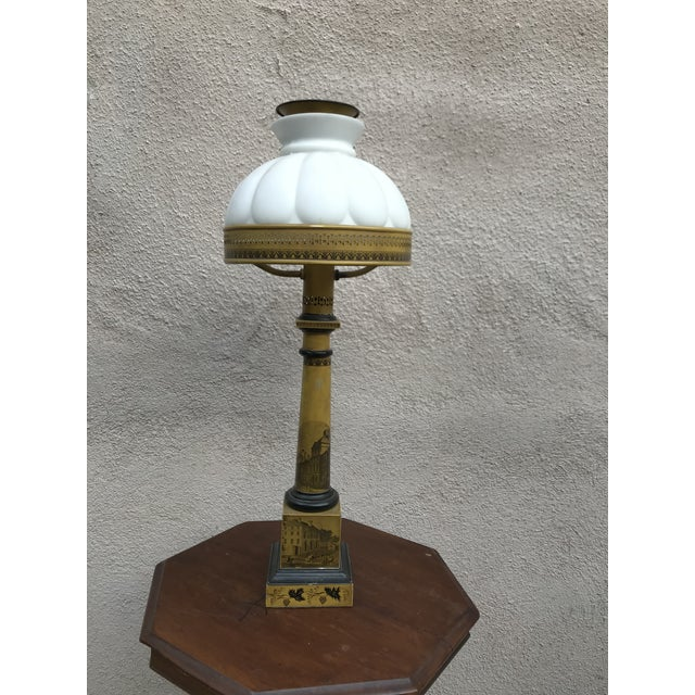1910s Antique Victorian Mustard Color Column Lamp With Glass Shade For Sale - Image 5 of 10
