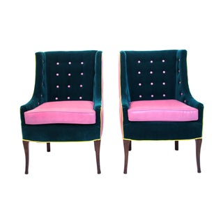 Mid Century Modern High Back Tufted Sleigh Chairs - a Pair Preview