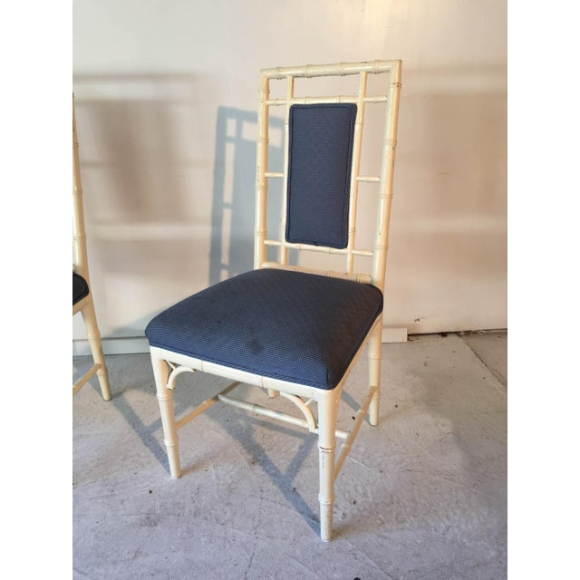 Cream Vintage Cottage Faux-Bamboo High-Back Side Chairs - A Pair For Sale - Image 8 of 8