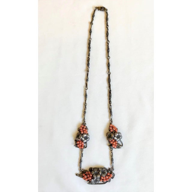 Metal 1930s Sterling and Coral Necklace For Sale - Image 7 of 7