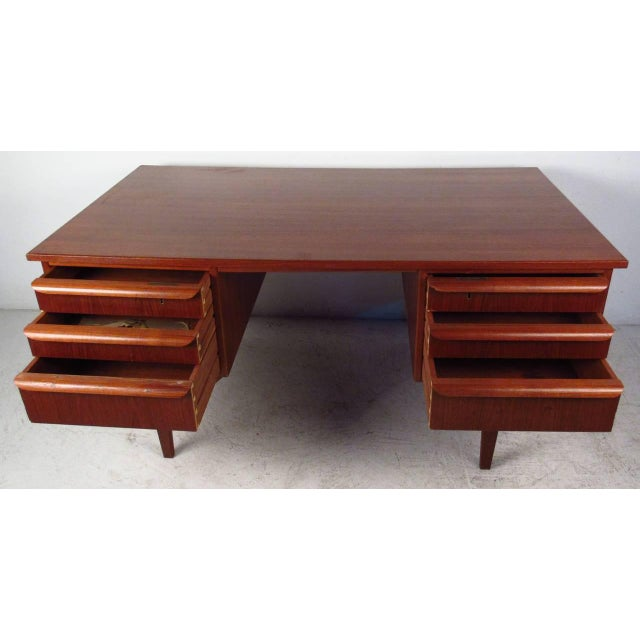 Double-Sided Scandinavian Modern Teak Desk For Sale - Image 9 of 9