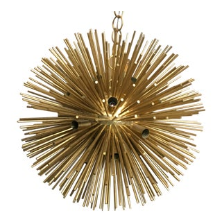 1960s Grand Brass Vintage Sunburst Orb Chandelier For Sale