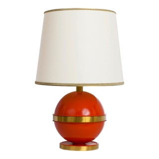 1970s Art Deco Bright Orange Nautical Brass Table Lamp
