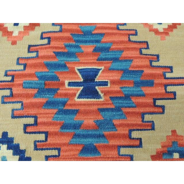 Boho Chic Vintage Orange and Blue Kilim Decorative Pillow For Sale - Image 3 of 6