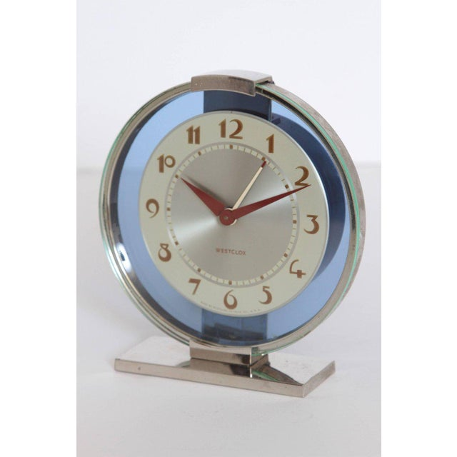 Machine Age Art Deco Westclox Desk Clock Chrome with Cobalt Glass For Sale - Image 10 of 11