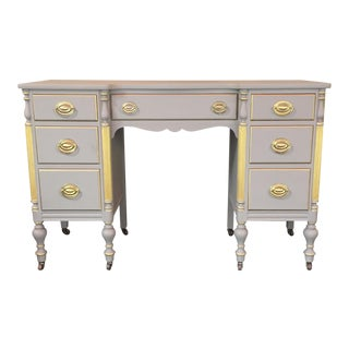 Taupe Seven-Drawer Desk