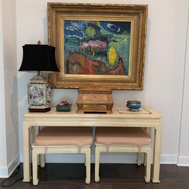Asian Vintage Ming Style Henredon Console Table & Stools- 3 Pieces For Sale - Image 3 of 13