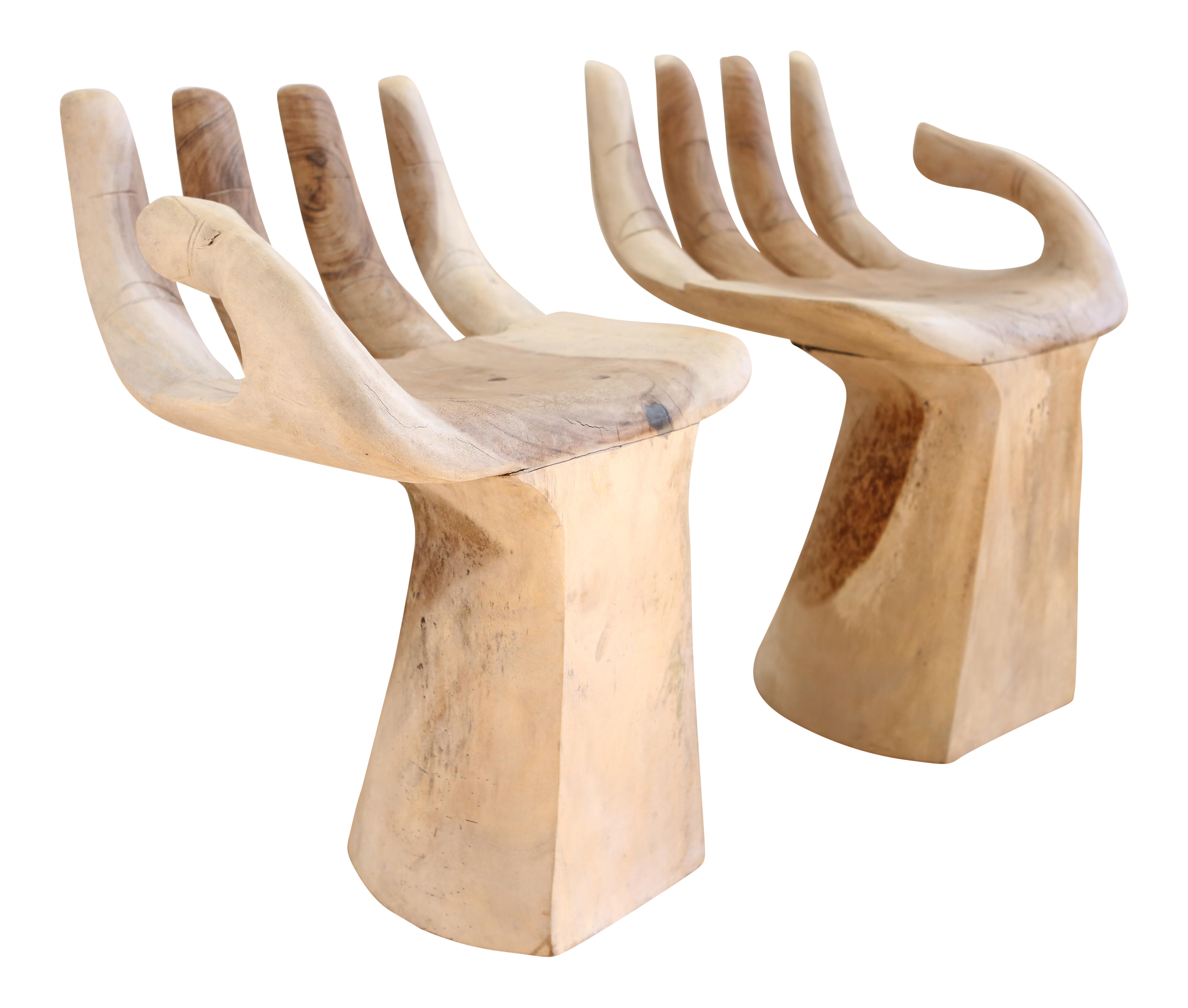 Merveilleux Hand Carved Teak Hand Chairs In The Style Of Pedro Friedeberg   A Pair
