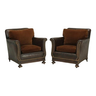 1930s French Restored Club Chairs - a Pair For Sale