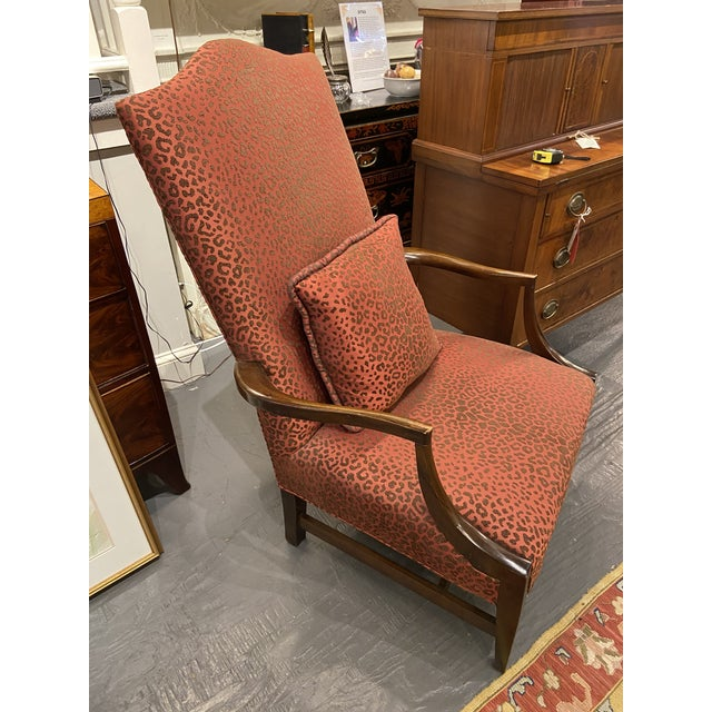 Red 19th Century English Mahogany Lolling Chair For Sale - Image 8 of 9