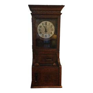 Antique Time Clock Punch Recorder Made of Quartersawn Oak For Sale