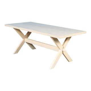 Sarreid Pine Dining Table, Beige Trav, Off White For Sale