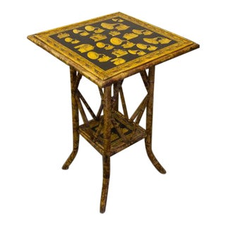 Late 19th Century English Bamboo Shelf Table with Decoupage Gramophones For Sale