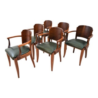 Fabulous Gaston Poisson Art Deco Arm-Chairs in Solid Mahogany, 1930s. For Sale