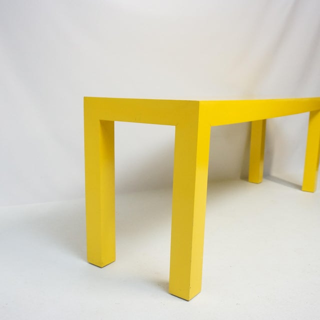 1970's Long Yellow Wooden Parsons Table For Sale In Pittsburgh - Image 6 of 7