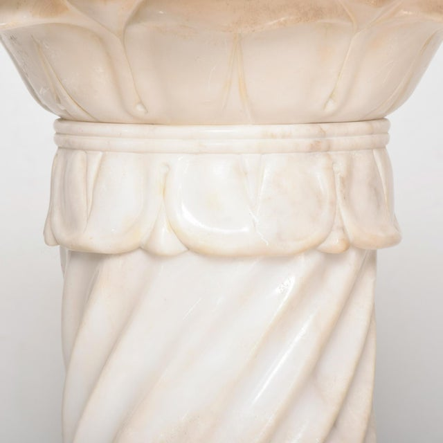 White Antique Italian Pedestal Marble Table For Sale - Image 8 of 11