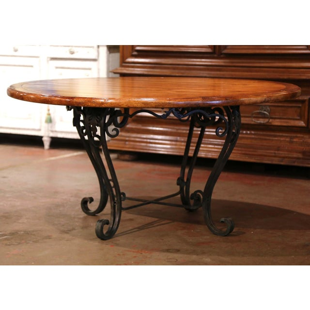 Vintage Walnut Round Dining Room Table on Four-Leg Wrought Iron Base For Sale In Dallas - Image 6 of 9