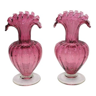 1960s Murano Ribbed Bullicante Controlled Bubble Raspberry Pink Vases With Original Venice Label - a Pair For Sale