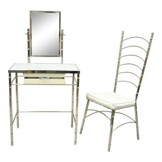 Mid 20th Century Hollywood Regency Faux Bamboo Metal Vanity With Chair-a Pair For Sale