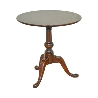 Traditional Solid Cherry Round Tilt Top Side Table