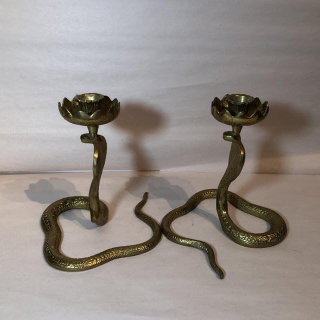 Brass King Cobra Candle Holders - a Pair - Image 7 of 11
