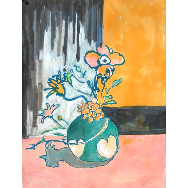 Contemporary Drawing, Flowers in a Heart Vase For Sale In Los Angeles - Image 6 of 9
