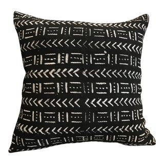 African Mudcloth Throw Pillow in Black For Sale