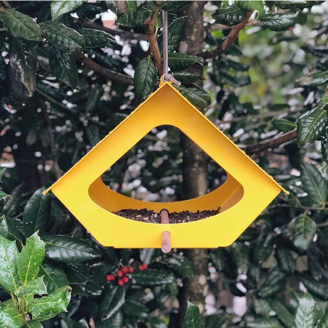 Contemporary Beekman Bird Feeder in Yellow For Sale - Image 3 of 9