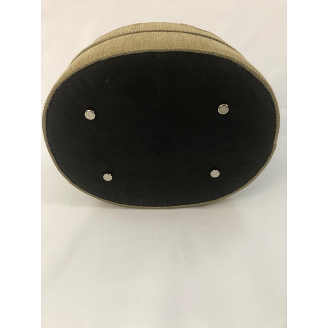 Textile 1990s Vintage Schnazzy Oval Ultrasuede Ottoman Pouf For Sale - Image 7 of 8