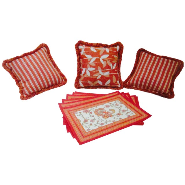 Moroccan Bohemian Orange Pillows & Placemats - Set of 9 For Sale