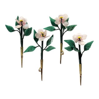 Featured in Domino Magazine: Floral Gem Stone Pink and Green Place Card Holders From Hong Kong 1950s - Set of 4 For Sale